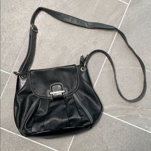 Black and grey over the shoulder purse